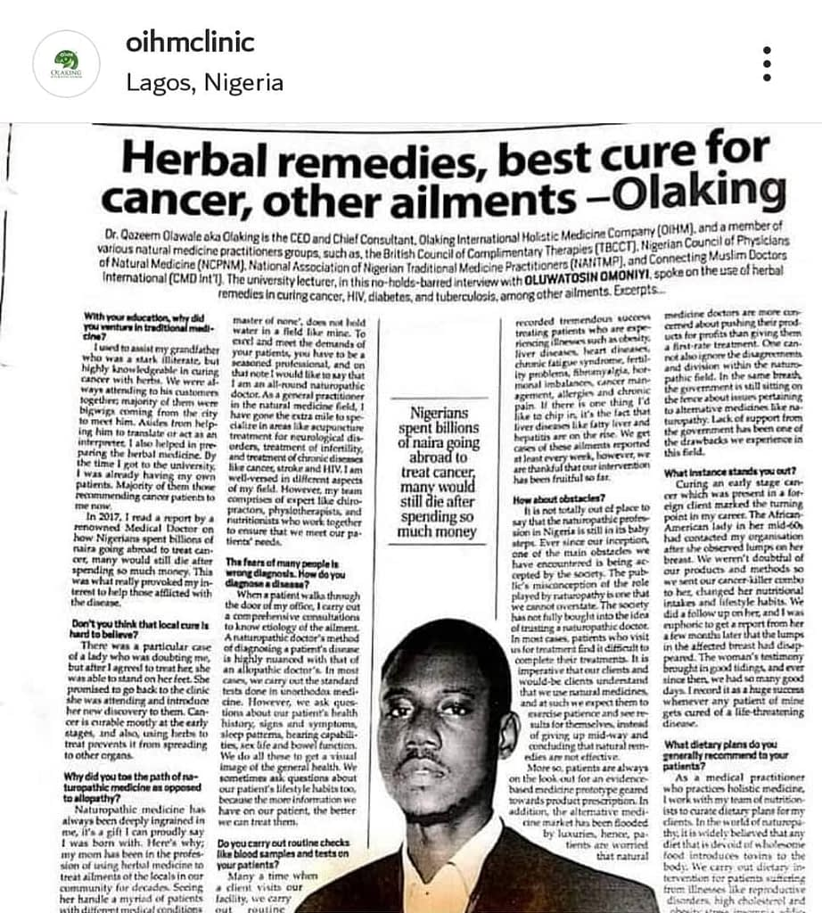 Dr Olaking Featured in a Newspaper publication 1