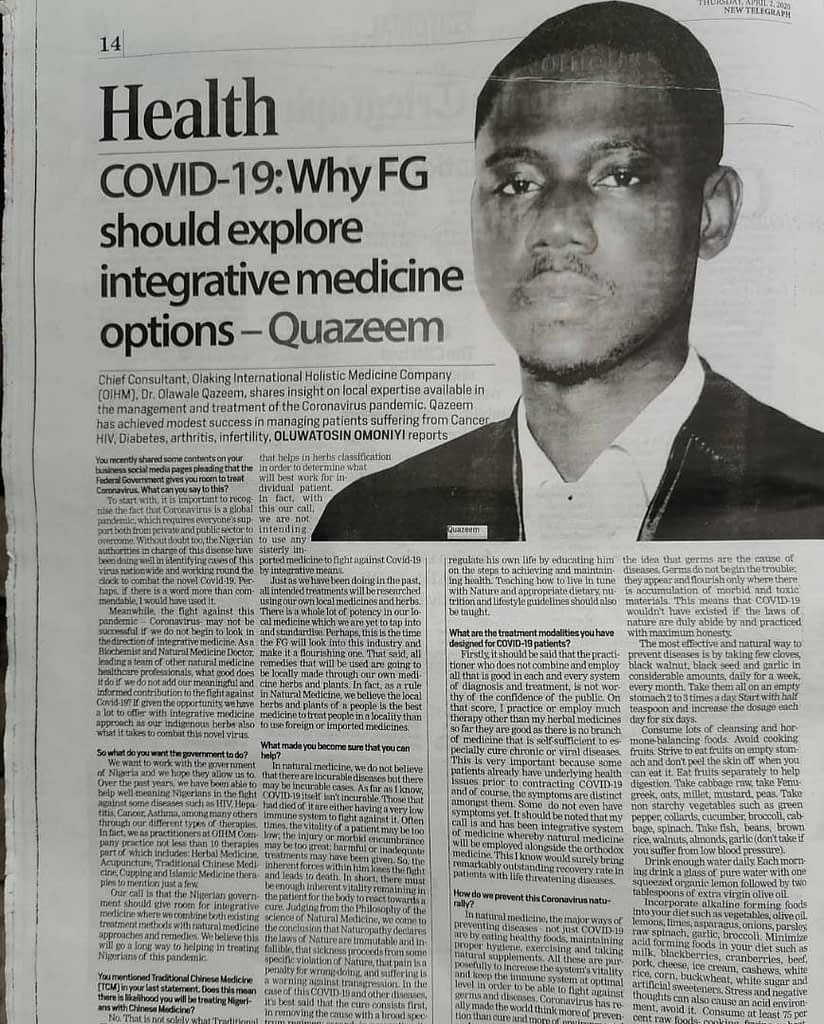 Dr Olaking Featured in a Newspaper publication 4