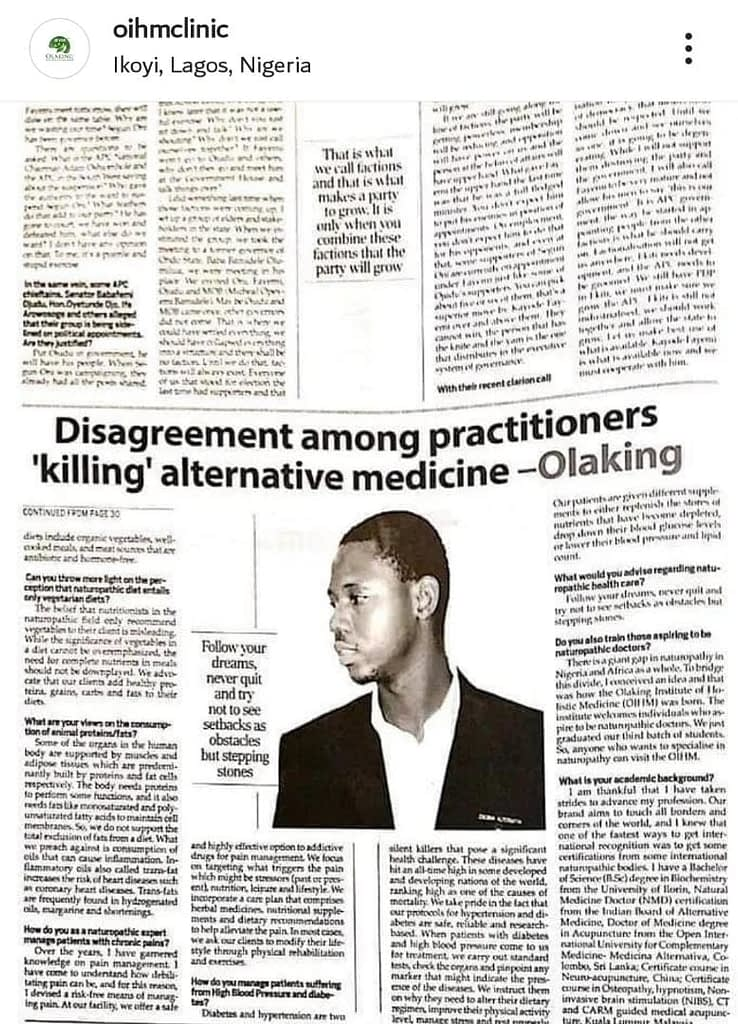 Dr Olaking Featured in a Newspaper publication 3